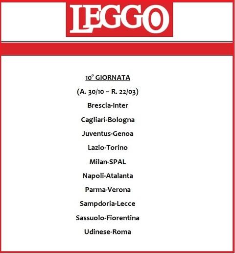 Calendario Iuve.Calendario Serie A 2019 20 Tutte Le Giornate Di Campionato