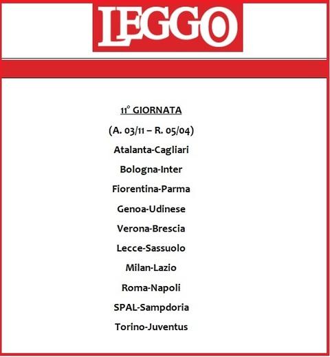 Calendario Serie A 11 Giornata.Calendario Serie A 2019 20 Tutte Le Giornate Di Campionato