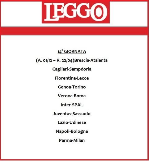 Calendario Durata Giorno Notte.Calendario Serie A 2019 20 Tutte Le Giornate Di Campionato