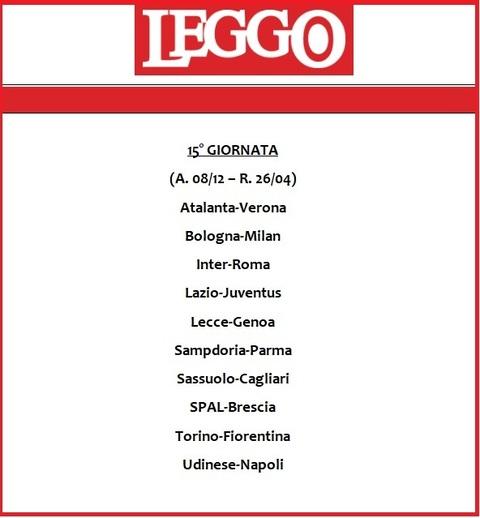 Serie A Calendario Inter.Calendario Serie A 2019 20 Tutte Le Giornate Di Campionato