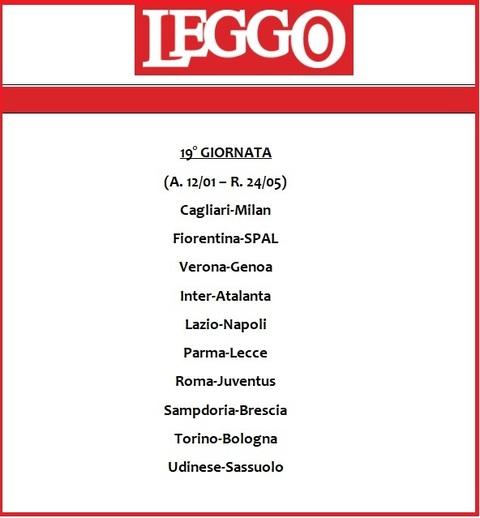 Calendario Serie A 19 20 Ultima Giornata.Calendario Serie A 2019 20 Tutte Le Giornate Di Campionato