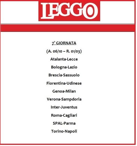Serie A Calendario 7 Giornata.Calendario Serie A 2019 20 Tutte Le Giornate Di Campionato