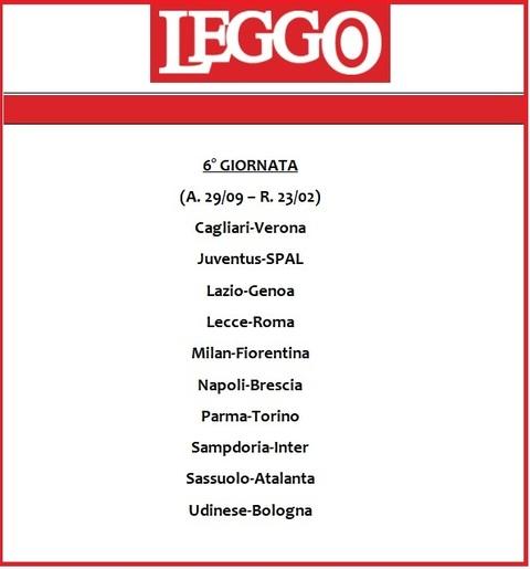 Serie A Calendario 6 Giornata.Calendario Serie A 2019 20 Tutte Le Giornate Di Campionato