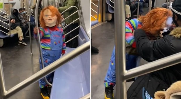 Chucky, la bambola assassina attacca in metro i passeggeri senza mascherina