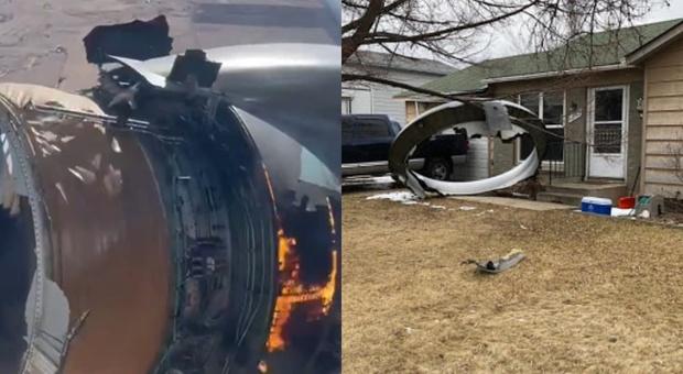 Aereo passeggeri perde motore in fiamme: i detriti cadono nei giardini delle case VIDEO CHOC