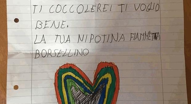 62e399704e Paolo Borsellino, la lettera della nipotina Fiammetta: «Caro nonno, mi  dispiace per quel 19 luglio. Ti coccolerei»