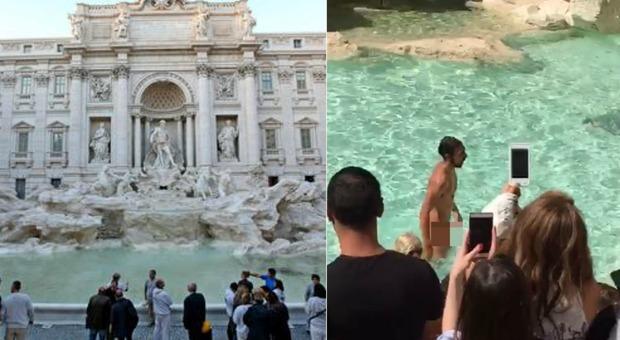 Fa il bagno nudo nella fontana di trevi in pieno giorno - Bagno fontana di trevi ...