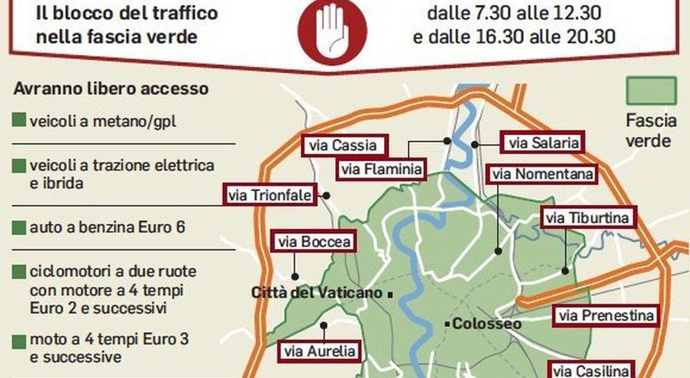 Cartina Della Fascia Verde A Roma.Roma Blocco Della Circolazione Delle Auto Oggi Domenica 1 Marzo Orari Mappa Chi Puo Ciricolare