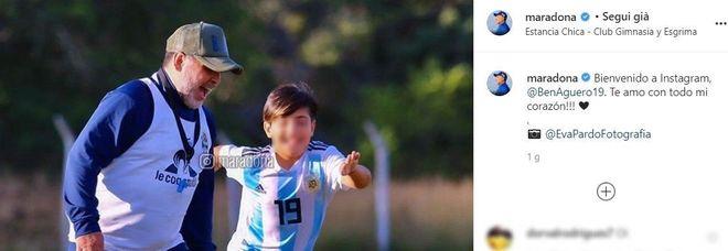 Maradona tenero nonno, il benvenuto al nipote Benjamin Agüero su Instagram: «Ti amo con tutto il cuore»