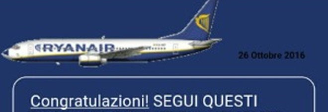 """Risultati immagini per """"Biglietti RyanAir in omaggio"""" su Whatsapp: non cliccate sul messaggio"""