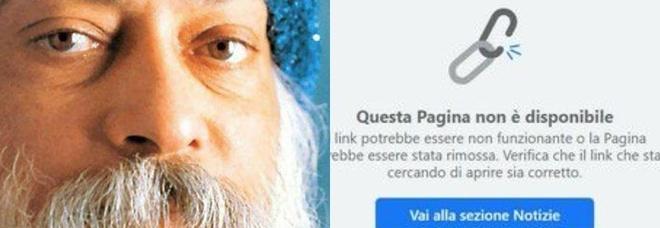 """Facebook chiude per qualche ora la pagina: """"Le più belle frasi di Osho""""."""