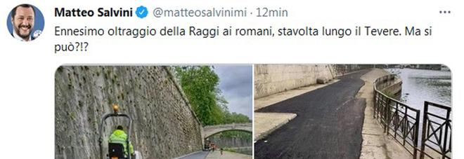 Colata di catrame copre i sampietrini sul Lungotevere, anche Salvini contro la Raggi. La risposta del Sindaco
