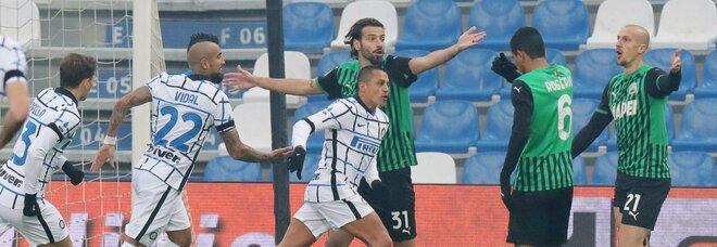 L'Inter contestata risponde sul campo: 3-0 al Sassuolo