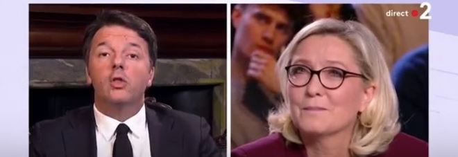 Renzi-Le Pen, scontro in tv: l'ex premier mette all'angolo la leader del FN in francese