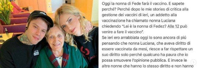 Chiara Ferragni attacca la Lombardia: «Oggi vaccino alla nonna di Fedez solo perché mi temono». Appello a Draghi