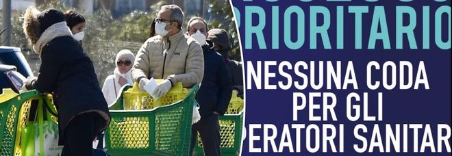 Coronavirus, i supermercati: «Priorità a medici e infermieri, potranno saltare la fila»