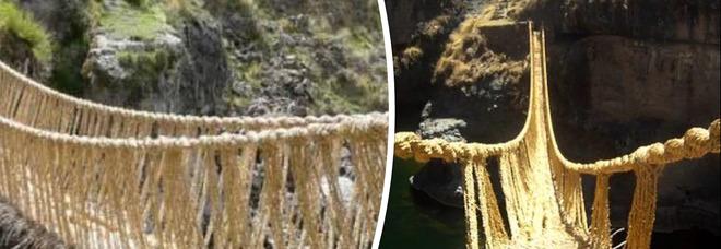 Ponte Inca sospeso a 30 metri di altezza ricostruito con lo spago tradizionale: era crollato a marzo a causa della pandemia