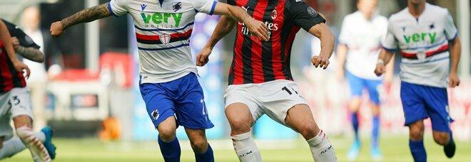 Milan-Samp 1-1: Hauge risponde a Quagliarella. E l'Inter stasera può allungare