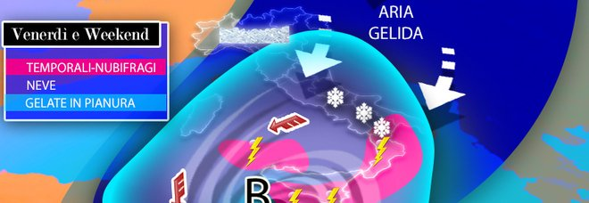 Meteo, venerdì sfuriata polare con maltempo al Centro-Sud. Poi weekend gelido