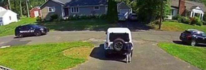 Bimbo afroamericano gioca davanti casa, poi vede l'auto della polizia e si nasconde per paura