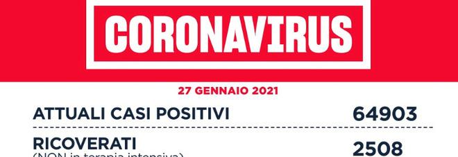 Coronavirus nel Lazio, il bollettino di mercoledì 27 gennaio: 62 morti e 1.338 nuovi positivi