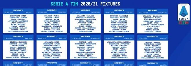 Serie A, Roma-Juve alla seconda giornata. Alla 18esima bianconeri contro l'Inter e derby capitolino. Derby di Milano alla quarta.