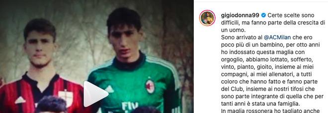 Gigio Donnarumma, l'addio al Milan su Instagram: «Voglio affrontare sfide diverse»