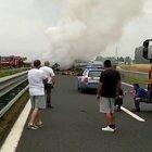 Roma-Civitavecchia, camion in fiamme sull'autostrada