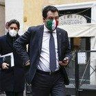 Matteo Salvini si reca ad un punto stampa sul caso Gregoretti (foto Andrea Giannetti/Ag.Toiati)
