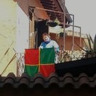 La bandiera di nonna Mariella, tutta fatta a mano per festeggiare la Ternana che sta andando in serie B