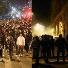 Napoli, manifestazione contro il coprifuoco, cori contro De Luca e Conte. Lancio di bombe carta, scontri tra manifestanti e polizia.