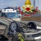 Milano, incidente sull'autostrada A4: l'auto si ribalta, una ragazza di 26 anni in codice rosso