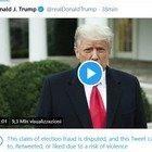 Violenze Usa, il videomessaggio di Trump non può essere ritwittato