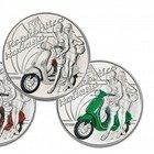 Moneta da 5 euro «dedicata alla Vespa». Emessa da oggi in tre colori FOTO