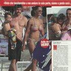 Juliana Moreira ed Edoardo Stoppa con i figli Loa Sophie e Gabriel a Olbia (Vero)
