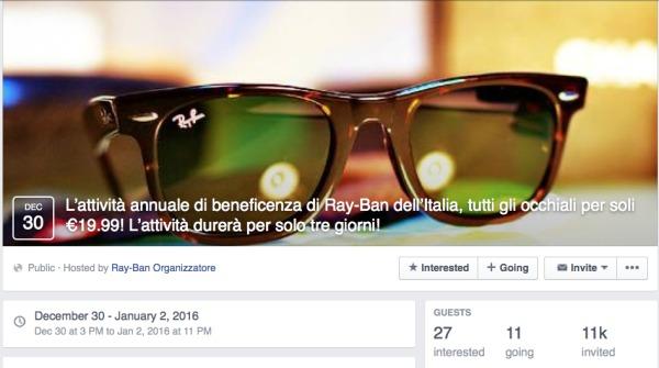 Ray-ban scontati su Facebook, occhio all'ennesima truffa !