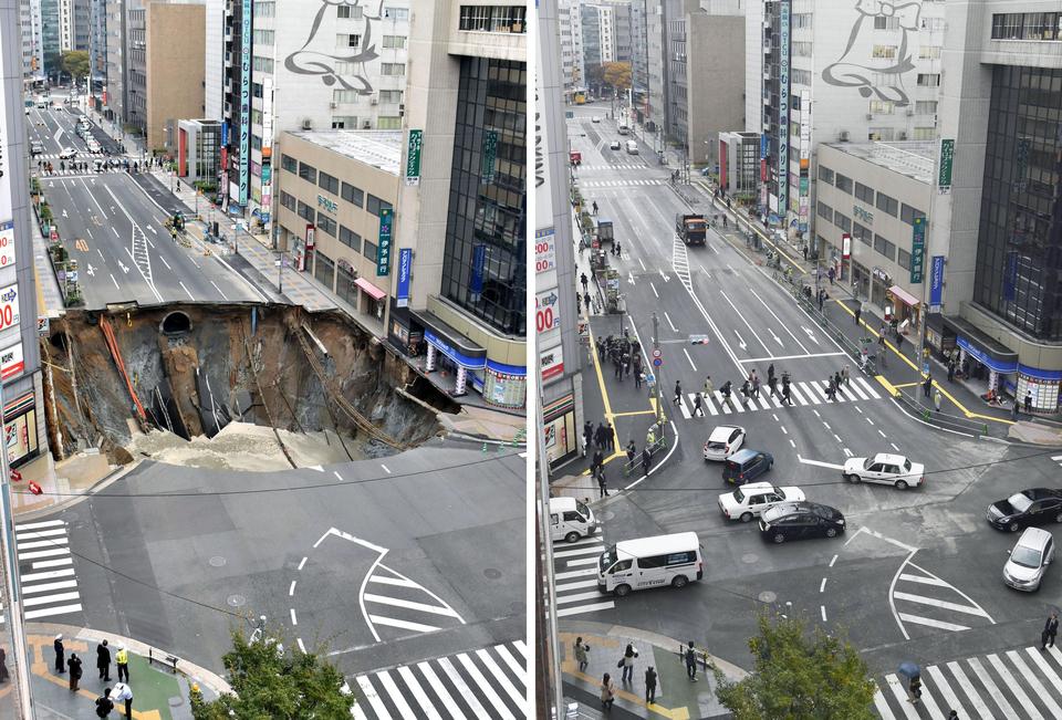 Una voragine di 30 metri spaventa il Giappone