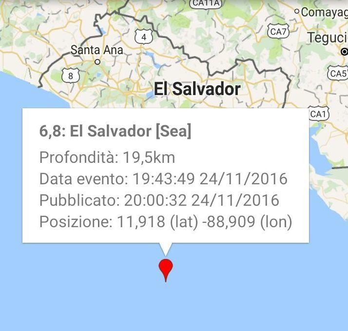 Sisma 7.2 a largo Nicaragua e Salvador