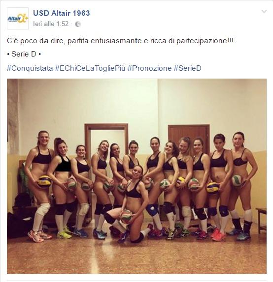 Altair Vicenza, giocatrici pallavolo vengono promosse e si spogliano su Facebook FOTO