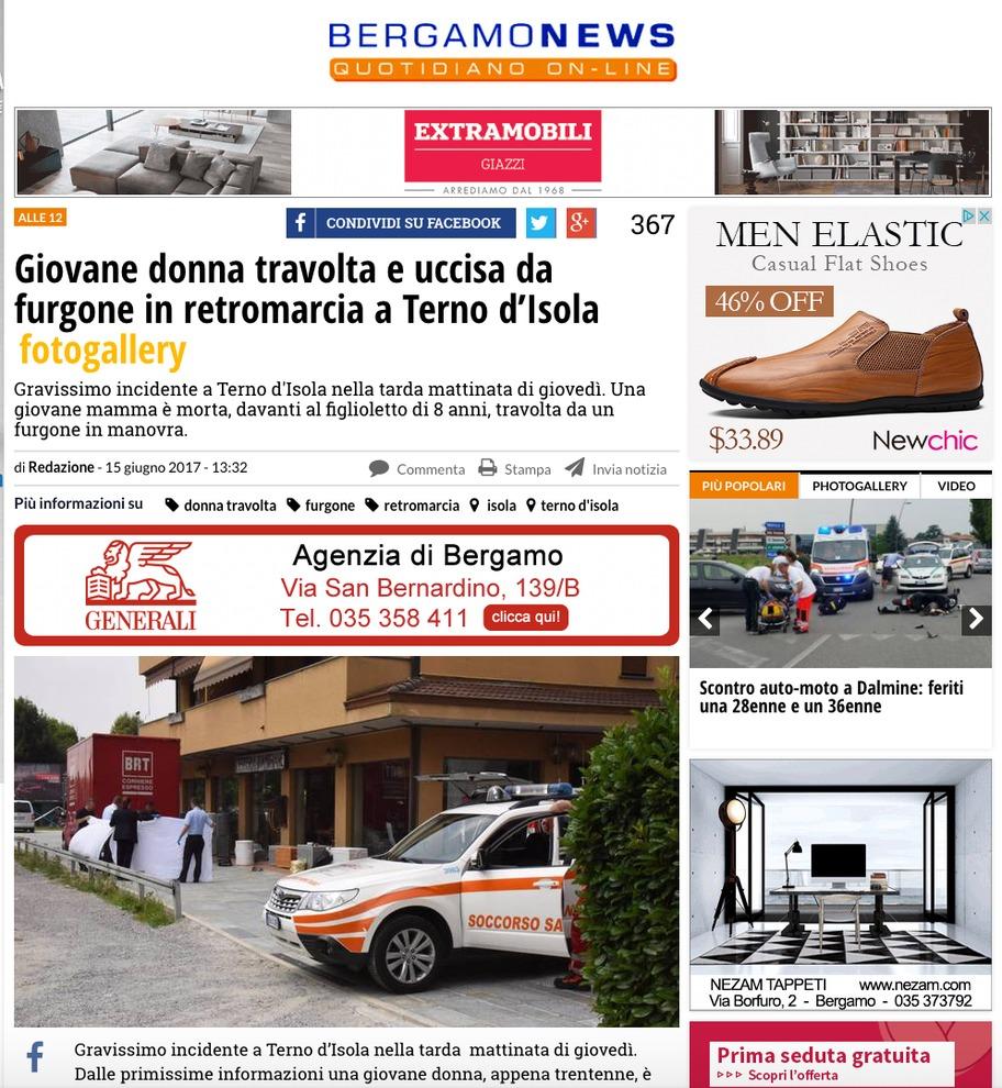 Bergamo, mamma uccisa da un camion in retromarcia: l'incidente davanti al figlio