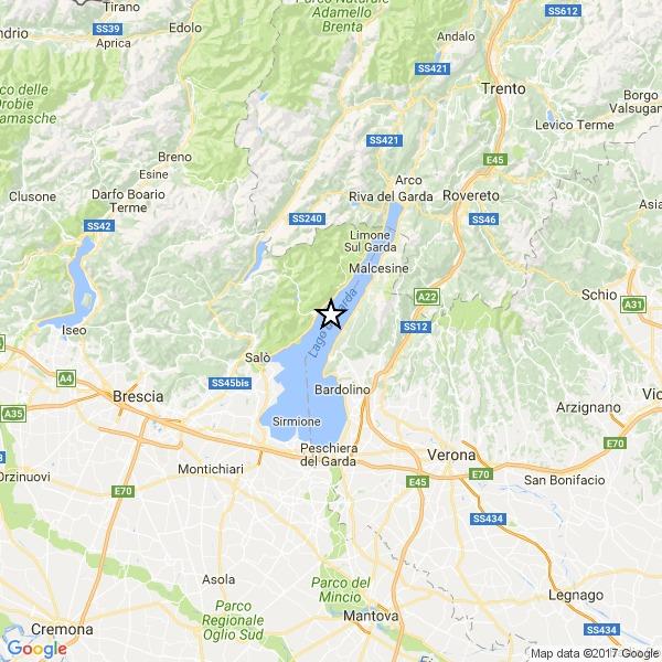 Scossa di terremoto vicino Verona: avvertita anche sul Lago di Garda