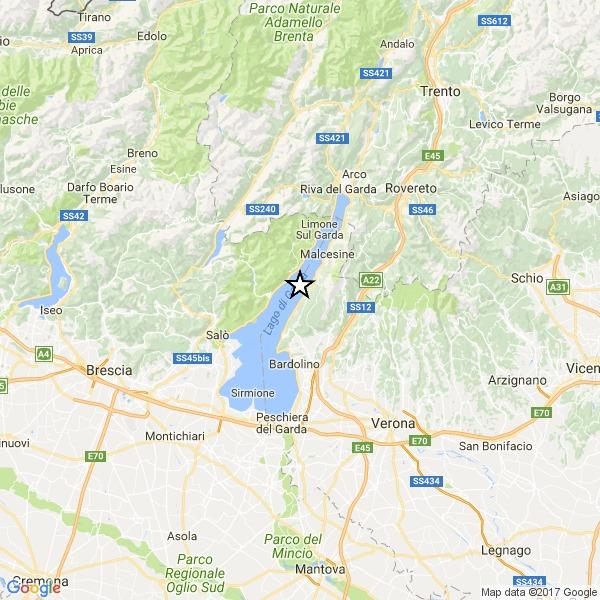 Terremoto sul Garda, magnitudo 3.6