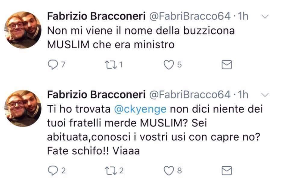 Twitter blocca Fabrizio Bracconeri per gli insulti a Kyenge