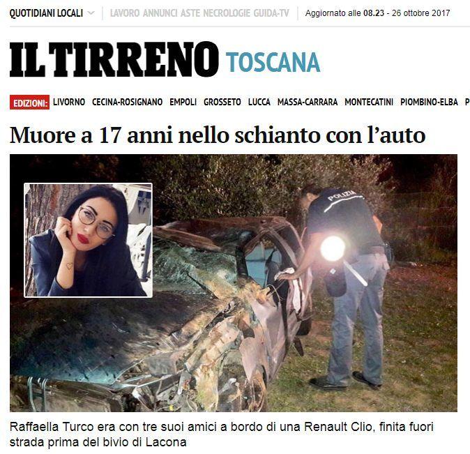 Auto fuori strada, Raffaella muore a 17 anni: feriti tre amici ventenni