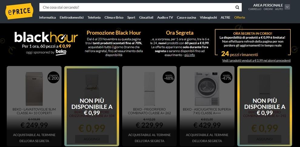 Black friday no black hour prodotti a meno di un euro for Eprice black hour truffa