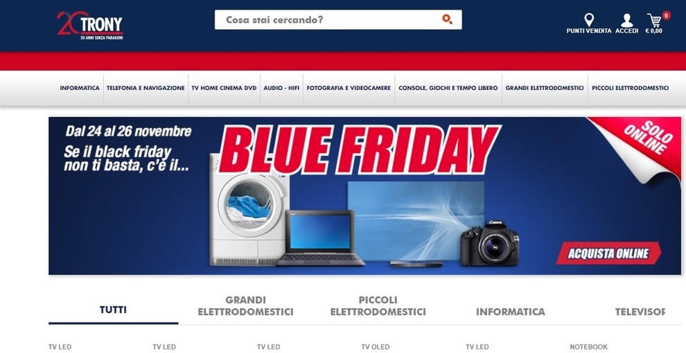 Black Friday 2017, Trony propone il \'Blue Friday\': sconti ...