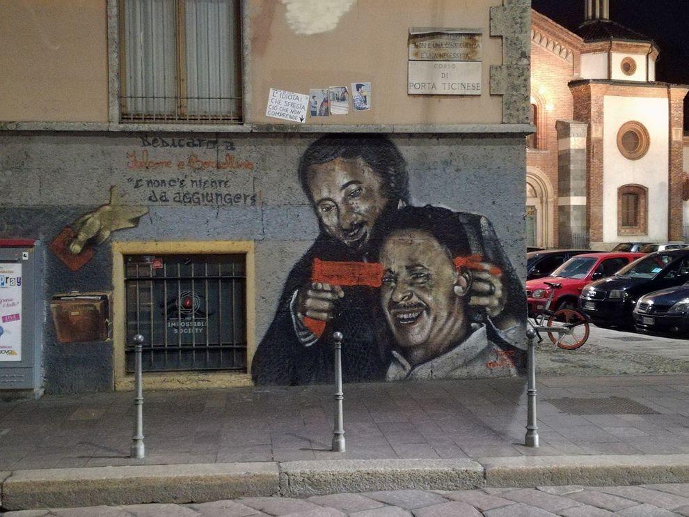 Falcone e borsellino lo sfregio della vergogna al murale - Commissariato porta ticinese ...