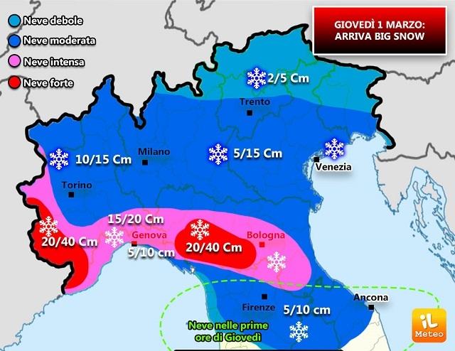 EUROPA: ecco Big Snow, tanta neve sull'Italia. Gelo sul vecchio continente