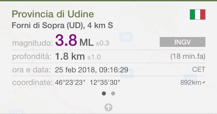 Terremoto, serie di scosse in Friuli