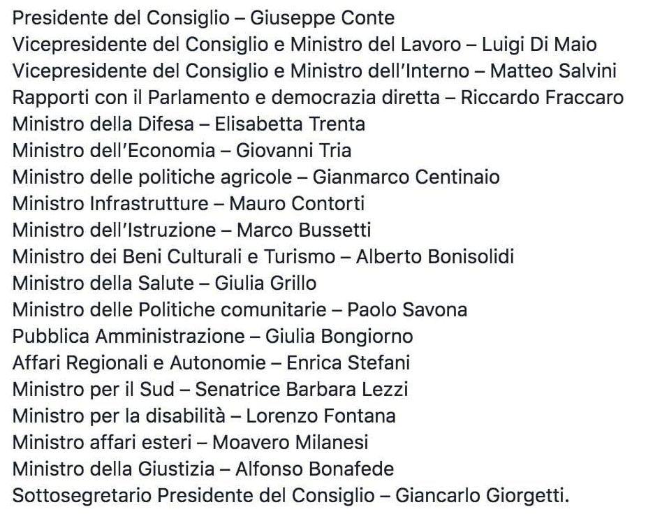 Nasce il governo conte la lista dei ministri alle 16 il for Lista politici italiani